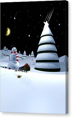 Holiday Falling Star Canvas Print by Cynthia Decker