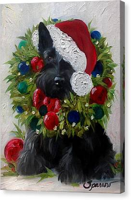 Scottish Dog Canvas Print - Holiday by Mary Sparrow