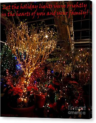 Holiday Lights Greeting Card Canvas Print by Gena Weiser
