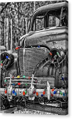 Holiday Lights On Old Truck Canvas Print by Birgit Tyrrell
