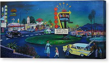 57 Chevy Canvas Print - Holiday Motel by Matthew Pinkey