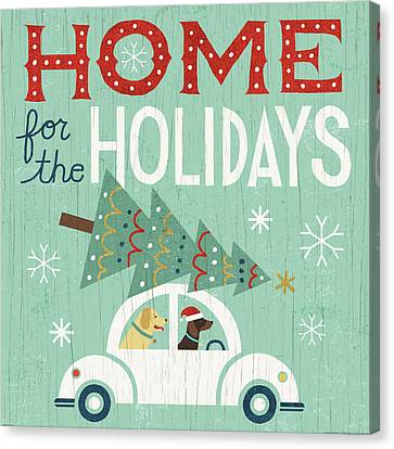 Christmas Dog Canvas Print - Holiday On Wheels I by Michael Mullan