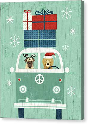 Christmas Dog Canvas Print - Holiday On Wheels Xii by Michael Mullan