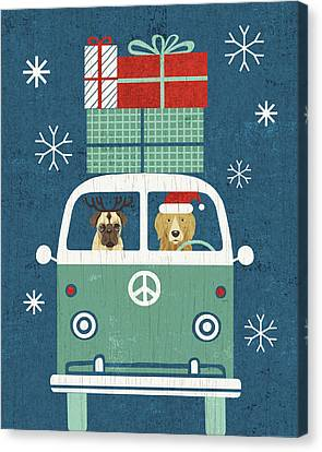 Christmas Dog Canvas Print - Holiday On Wheels Xii Navy by Michael Mullan