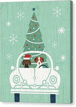 Christmas Dog Canvas Print - Holiday On Wheels Xiii by Michael Mullan