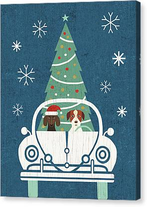 Christmas Dog Canvas Print - Holiday On Wheels Xiii Navy by Michael Mullan
