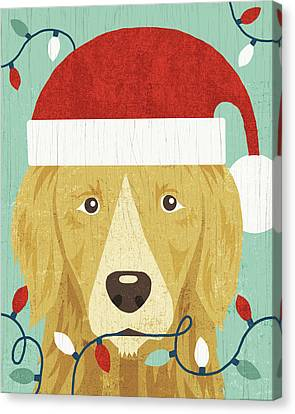 Christmas Dog Canvas Print - Holiday On Wheels Xiv by Michael Mullan