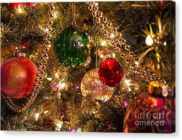 Christmas Canvas Print - Holiday Ornaments On A Christmas Tree by Amy Cicconi
