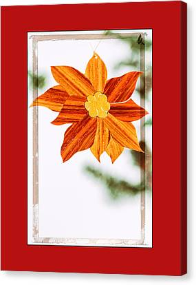 Holiday Pointsettia Art Ornament In Red Canvas Print