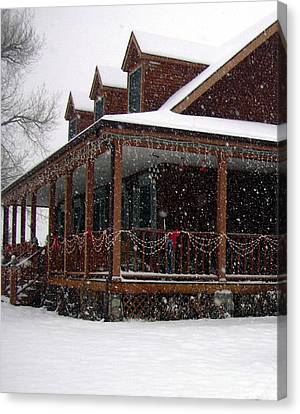Holiday Porch Canvas Print by Claudia Goodell