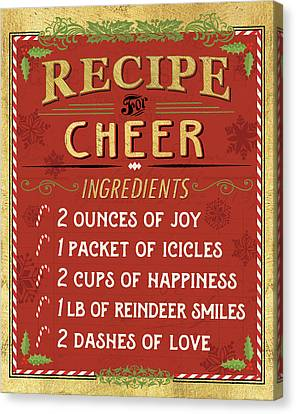 Holiday Recipe I Gold And Red Canvas Print by Pela Studio