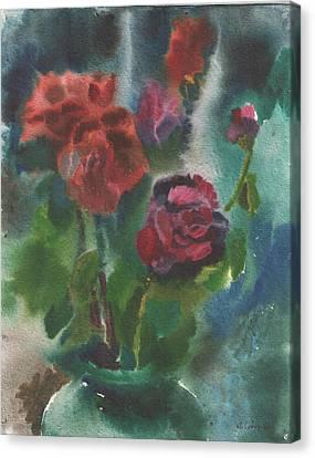 Holiday Roses Canvas Print by Anna Lobovikov-Katz