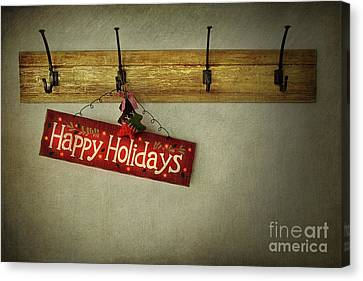 Holiday Sign On Antique Plaster Wall Canvas Print