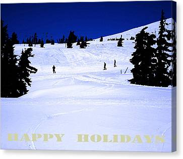 Holiday Skiers At Mt Hood  Oregon Canvas Print