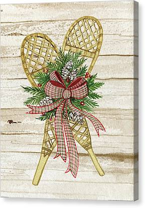 Pine Cones Canvas Print - Holiday Sports IIi On Wood by Kathleen Parr Mckenna