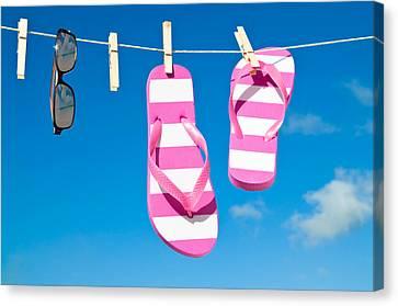 Holiday Washing Line Canvas Print by Amanda Elwell