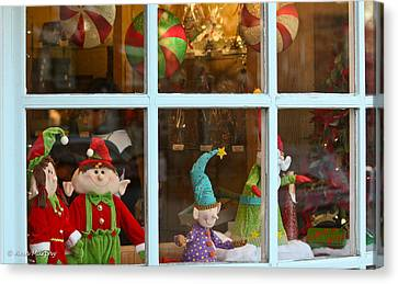 Canvas Print featuring the photograph Holiday Window by Ann Murphy