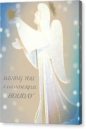 Holiday Wish Card Canvas Print by Debra     Vatalaro