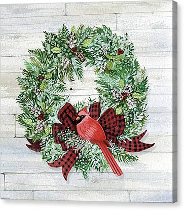 Pine Cones Canvas Print - Holiday Wreath I On Wood by Kathleen Parr Mckenna