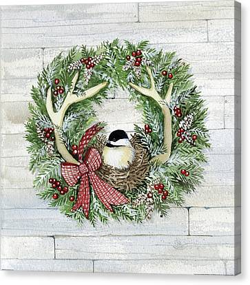 Pine Cones Canvas Print - Holiday Wreath Iv On Wood by Kathleen Parr Mckenna