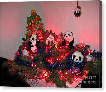 Holidays In Pandaland Canvas Print by Ausra Huntington nee Paulauskaite