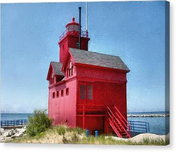 Holland Harbor And Big Red Canvas Print by Michelle Calkins