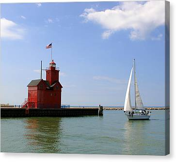 Holland Harbor Lighthouse With Sailboat Canvas Print