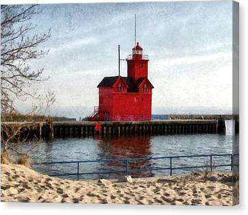 Holland Michigan Channel And Lighthouse Canvas Print by Michelle Calkins