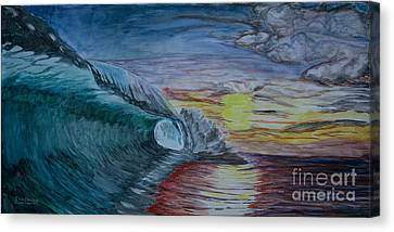 Hollow Wave At Sunset Canvas Print by Ian Donley