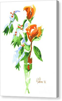Holly With Red Roses In A Vase Canvas Print by Kip DeVore