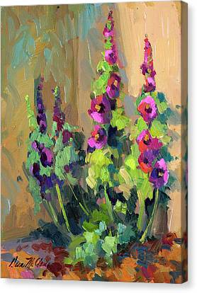 Hollyhocks At Giverny Canvas Print by Diane McClary