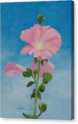 Hollyhocks Canvas Print by Diane Cutter