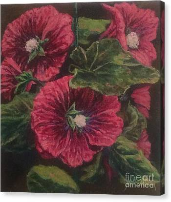 Red Hollyhocks Canvas Print