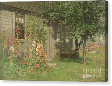 Hollyhocks Nantucket Canvas Print by John Joseph Enneking