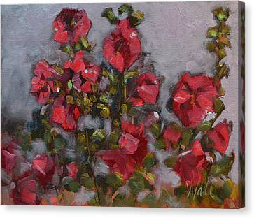 Hollyhocks Canvas Print by Pattie Wall