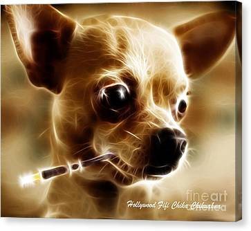 Hollywood Fifi Chika Chihuahua - Electric Art - With Text Canvas Print by Wingsdomain Art and Photography