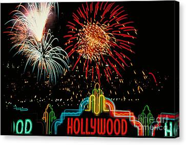 Hollywood Fireworks Canvas Print by Carroll Seghers II