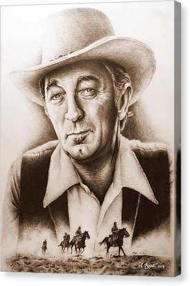 Hollywood Greats Mitchum Canvas Print by Andrew Read