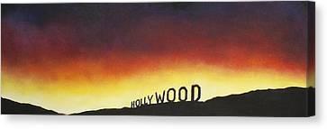 Hollywood On Fire Canvas Print by Christine  Webb