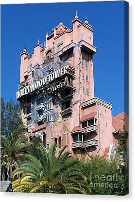 Hollywood Tower Hotel Canvas Print by Tom Doud