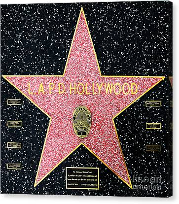 Hollywood Walk Of Fame Lapd Hollywood 5d28920 Canvas Print by Wingsdomain Art and Photography