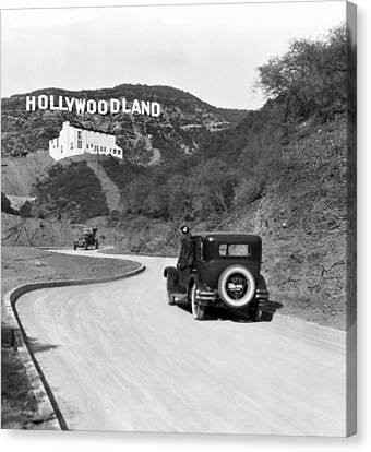 Vintage Sign Canvas Print - Hollywoodland by Underwood Archives