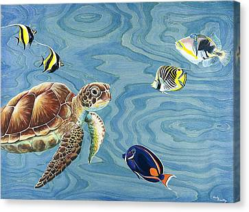 Holoholo Sea Turtle Canvas Print by Emily Brantley