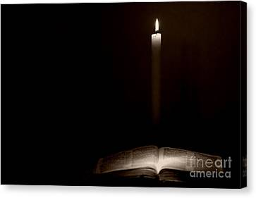 Canvas Print featuring the photograph Holy Bible Illuminated by Lincoln Rogers