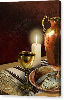Jewish Table Setting With Bread And Wine Canvas Print by Regina Femrite