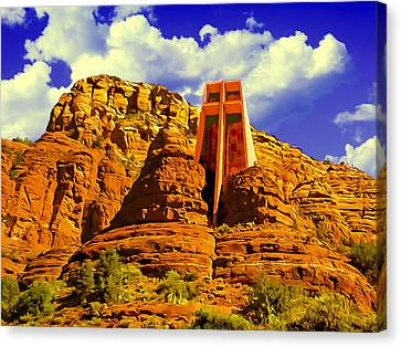 Holy Cross Chapel Coconino National Forest Canvas Print by Bob and Nadine Johnston