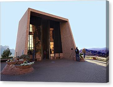 Holy Cross Or Red Rock Chapel Rear View Canvas Print by Bob and Nadine Johnston