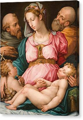 Holy Family With The Infant Saint John The Baptist And Saint Francis Canvas Print by Giorgio Vasari