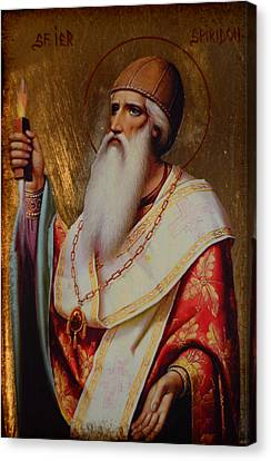 Holy Hierarch St. Spyridon Of Tremithus Canvas Print by Claud Religious Art