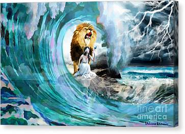 Lions Canvas Print - Holy Roar by Dolores Develde